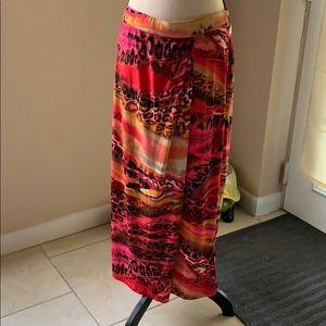 Kasper pretty pink print long skirt